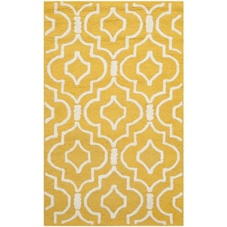Safavieh Handmade Moroccan Cambridge Gold/ Ivory Wool Rug (3' x 5')