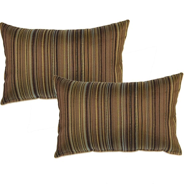Bar Codes Olive 12.5-in Throw Pillows (Set of 2)