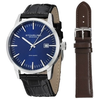 Stuhrling Original Men's Ascot 42 Watch Set Swiss Quartz Interchangeable Strap Interchangeable Strap Watch