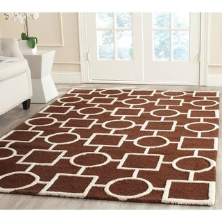 Safavieh Handmade Moroccan Cambridge Dark Brown/ Ivory Wool Rug (9' x 12')