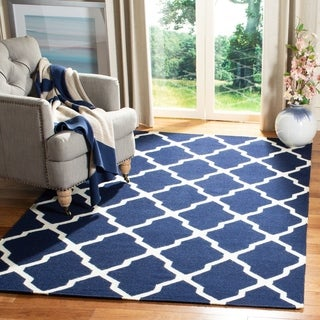 Safavieh Hand-woven Moroccan Dhurries Navy/ Ivory Wool Rug (9' x 12')