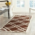 Safavieh Handmade Moroccan Cambridge Dark Brown/ Ivory Wool Rug (2'6 x 6')