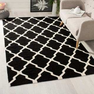 Safavieh Hand-woven Moroccan Reversible Dhurries Navy/ Ivory Wool Rug (8' x 10')