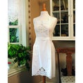 Embroidered Battenberg White Cotton Apron