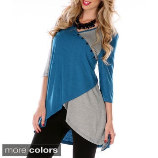 Women's Two-tone 3/4-sleeve Spliced Top