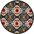 Safavieh Indoor/ Outdoor Four Seasons Black/ Ivory Rug (4' Round)