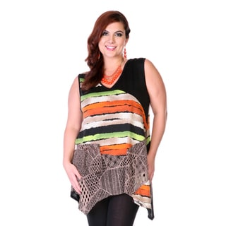 Women's Plus Size Mixed Print Spliced Top