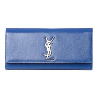 Saint Laurent Royal Blue Patent Leather Monogrammed Clutch