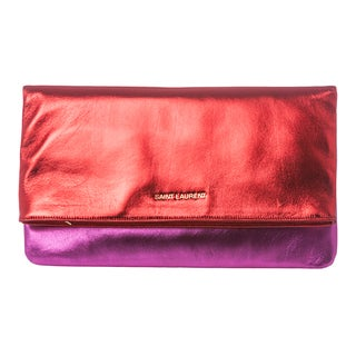 Saint Laurent Red and Magenta Metallic Leather Clutch