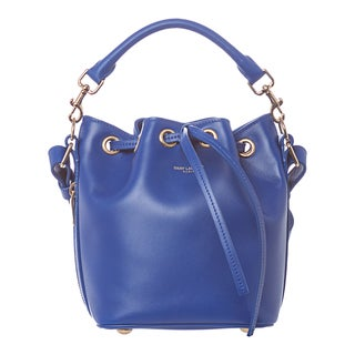 Saint Laurent Small Cobalt Leather Bucket Crossbody Bag