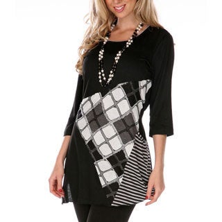 Women's Mixed Print Spliced Top