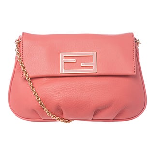 Fendi 'Fendista' Coral Leather Pochette Crossbody