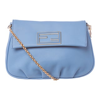 Fendi 'Fendista' Sky Blue Leather Pochette Crossbody