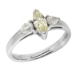 De Buman 18k White Gold 3/5ct TDW Light Yellow and White Marquise Diamond Ring