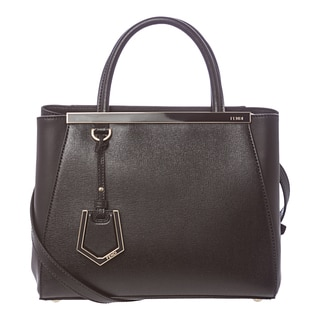 Fendi '2Jours' Black Petite Leather Shopper Bag