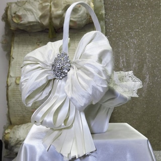 Ivory Silk and Lace Flower Girl Basket