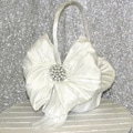 White Crystal and Pearl Flower Girl Basket