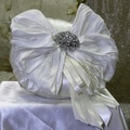 Ivory Silk and Ribbon Round Ring Pillow