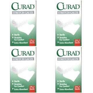 Curad Stretch Gauze Bandage 3 inches x 4.1 yards (Pack of 4)