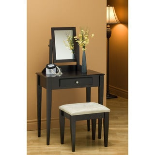 Cappuccino Finish Microfiber Stool and Vanity Set