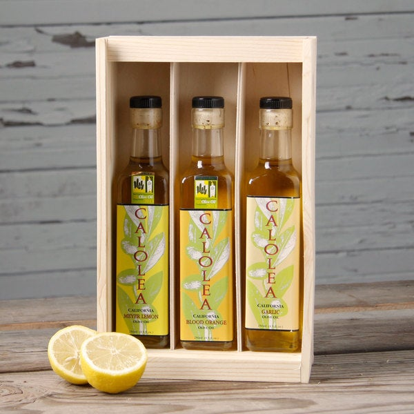 Calolea Flavored Olive Oil Gift Box (Set of 3) Fine Cheese, Oils, Balsamic -