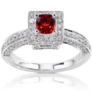 Annello 18k White Gold Spessartite Garnet and 3/5ct TDW Diamond Halo Engagement Ring (H-I, SI1-SI2)