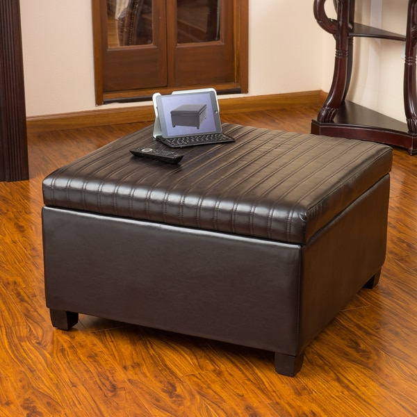 Cano Espresso Leather Storage Ottoman