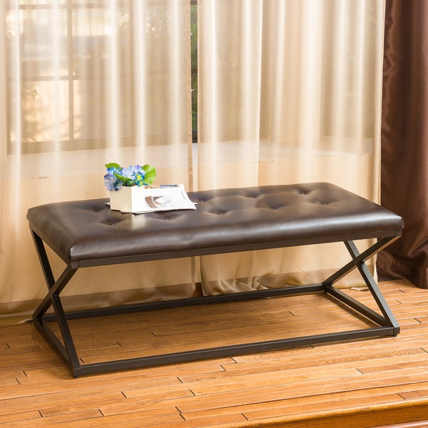Darcy Cross-Leg Tufted Brown Leather Bench