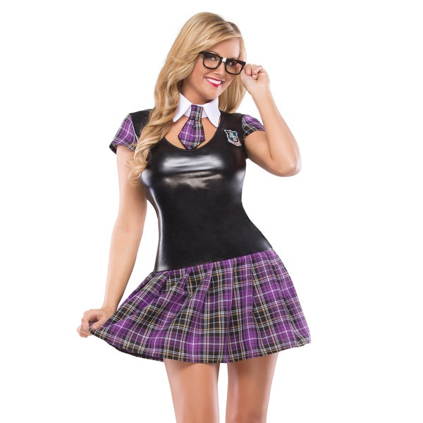 Masquerade Women's Wetlook and Plaid with Pleated Skirt