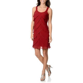 S.L Fashions Women's Claret Multi-tiered Dress