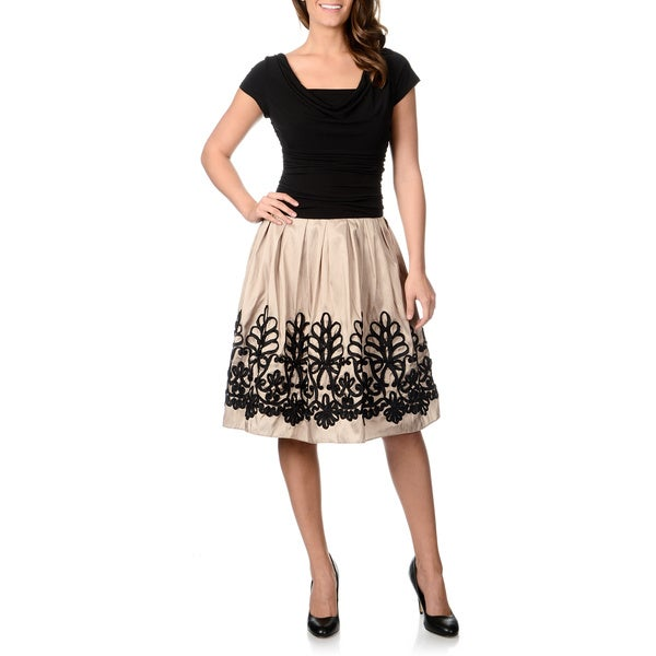 S.L Fashions Women's Two-tone Soutache Embroidered Party Dress