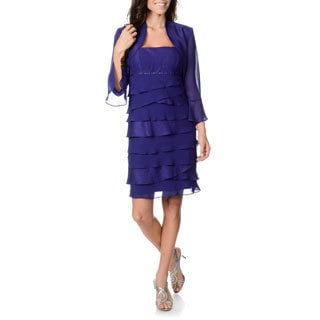 S.L. Fashions Women's Purple Multi-tiered Dress and Jacket Set