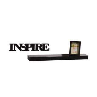 Mellanco Black Shelf Photo Frame and Inspire Word 3-piece Set