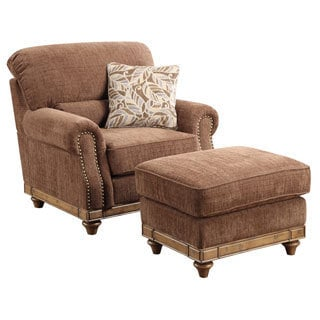 Emerald Grand Rapids Brown Chair and Ottoman Set