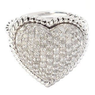 Sterling Silver 3/4ct TDW Pave Diamond Heart Shape Ring (H-I, I2-I3)
