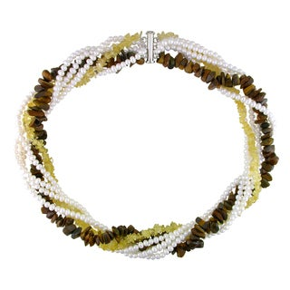 Miadora White Pearl, Citrine and Tiger Eye Necklace