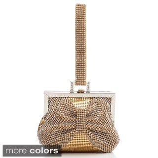 J. Furmani Crystal and Hardware Studded Bow Evening Bag