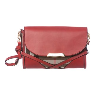 Burberry 'Abbott' Red/ Check Sartorial Leather Crossbody Bag