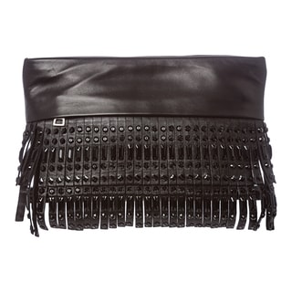 Prada BP6305 2ATN F0002 Studded & Fringed Leather Clutch
