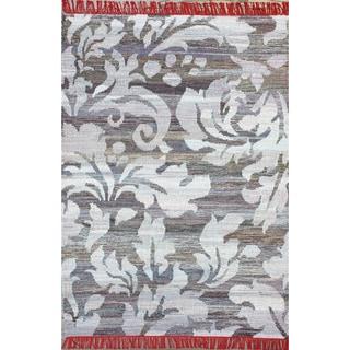 Flatweave Modern Scroll Fringed Blue Cotton Rug (7'6 x 9'6)