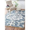 Flatweave Modern Ikat Scroll Fringed Blue Cotton/ Wool Rug (7'6 x 9'6)