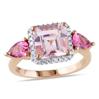 Miadora 10k Rose Gold Morganite, Tourmaline and 1/6ct TDW Diamond Ring (H-I, I2-I3)