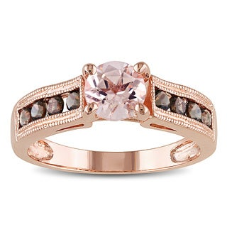 Miadora Rose Flashplated Silver 1 1/4ct TGW Morganite and Smokey Quartz Ring