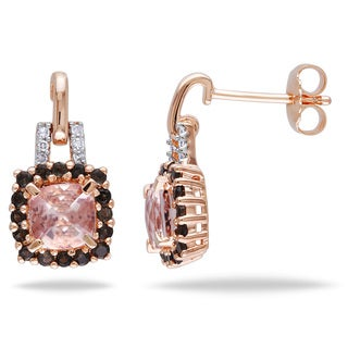 Miadora Rose Flashplated Silver Morganite, Smokey Quartz and Diamond Accent Earrings