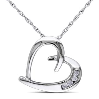 Haylee Jewels 10k White Gold Diamond Accent Heart Necklace