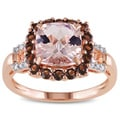 Miadora Rose Flashplated Silver Morganite, Smokey Quartz and Diamond Accent Ring