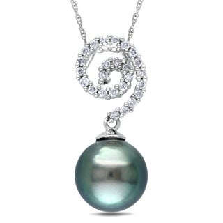 Miadora 10k White Gold Tahitian Pearl and 1/5ct TDW Diamond Necklace (H-I, I2-I3)