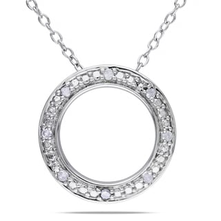 Haylee Jewels Sterling Silver 1/10ct TDW Diamond Circle Necklace (I-J, I2-I3)