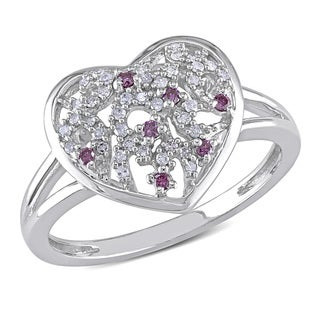 Miadora 10k White Gold 1/6ct TDW Pink and White Diamond Heart Ring (H-I, I2-I3)