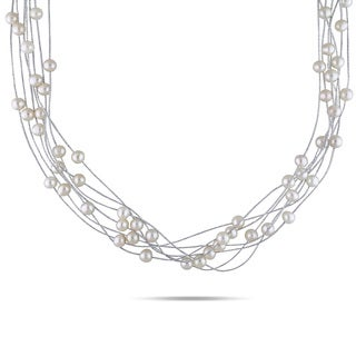 M by Miadora Silvertone 7-strand White Cultured Freshwater Pearl Necklace (5-6 mm)